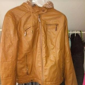 Leather like fitted jacket